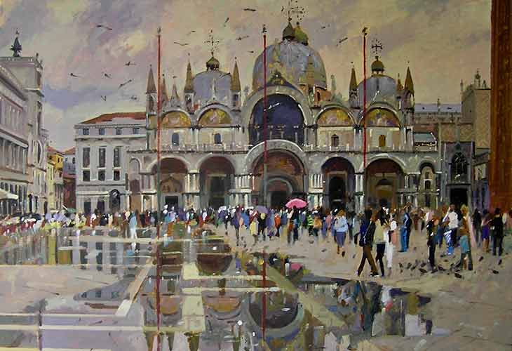 Bruce Yardley Exhibition 2018 Pink Umbrella Basilica San Marco image