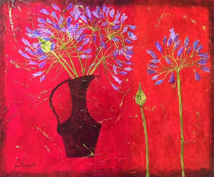Sue Fitzgerald Agapanthus and Pink flowers image