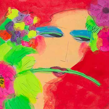 Walasse Ting Red Lady with Flowers in Her Hair contemporary chinese artist image